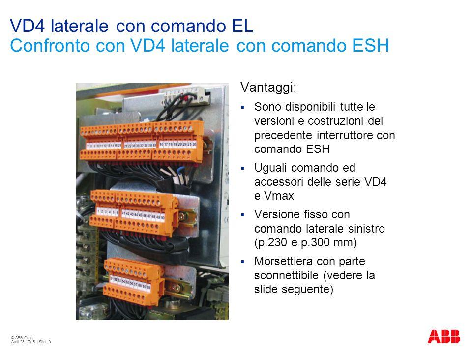 © ABB Group April 23, 2015 | Slide 9 VD4 laterale con comando EL Confronto con VD4 laterale con comando ESH Vantaggi:  Sono disponibili tutte le vers