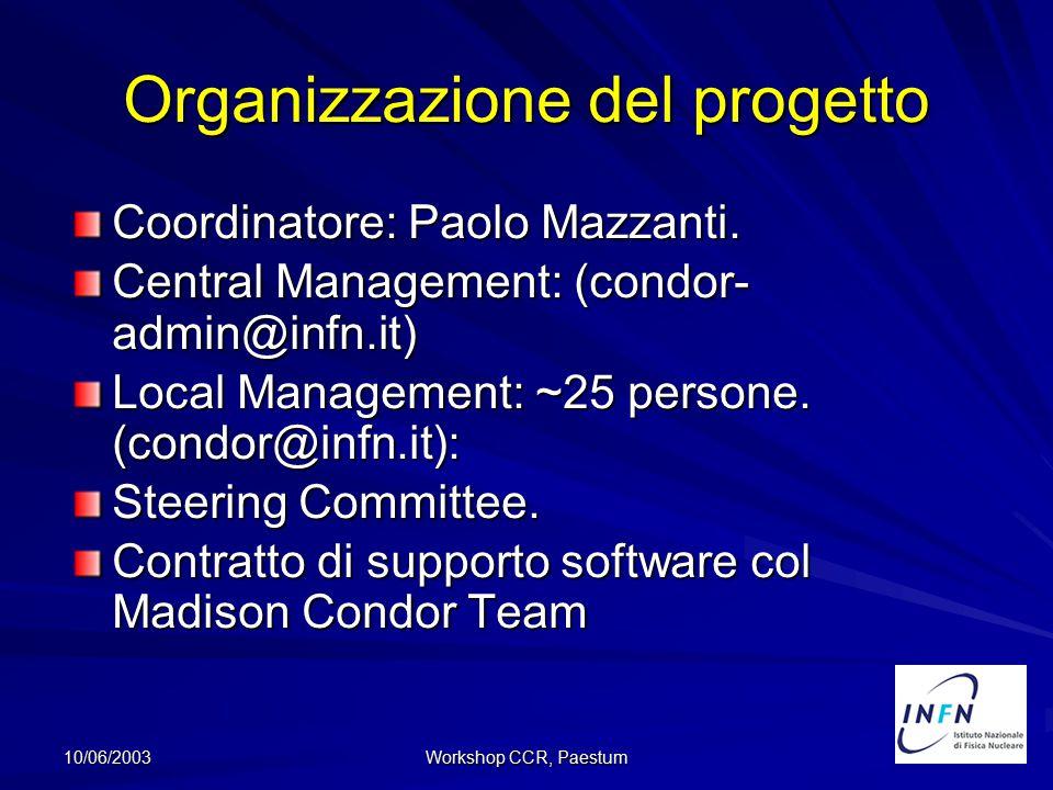 10/06/2003 Workshop CCR, Paestum Organizzazione del progetto Coordinatore: Paolo Mazzanti. Central Management: (condor- admin@infn.it) Local Managemen