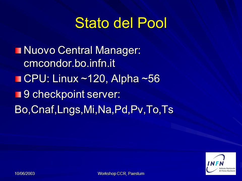10/06/2003 Workshop CCR, Paestum Documentazione:http://www.bo.infn.it/calcolo/condor/condor-tool-installazione.doc