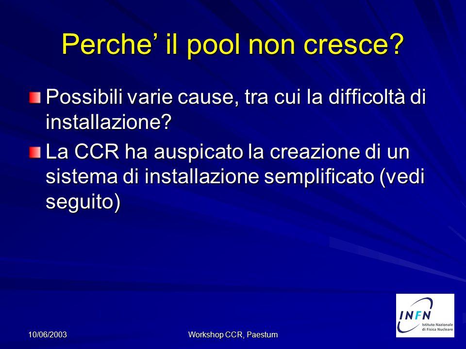 10/06/2003 Workshop CCR, Paestum Perche' il pool non cresce? Possibili varie cause, tra cui la difficoltà di installazione? La CCR ha auspicato la cre