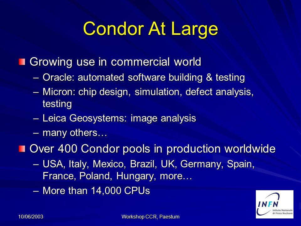 10/06/2003 Workshop CCR, Paestum Tool di installazione Tre tipi di installazione –server: solo binari e librerie –client: solo file di configurazione –completa.