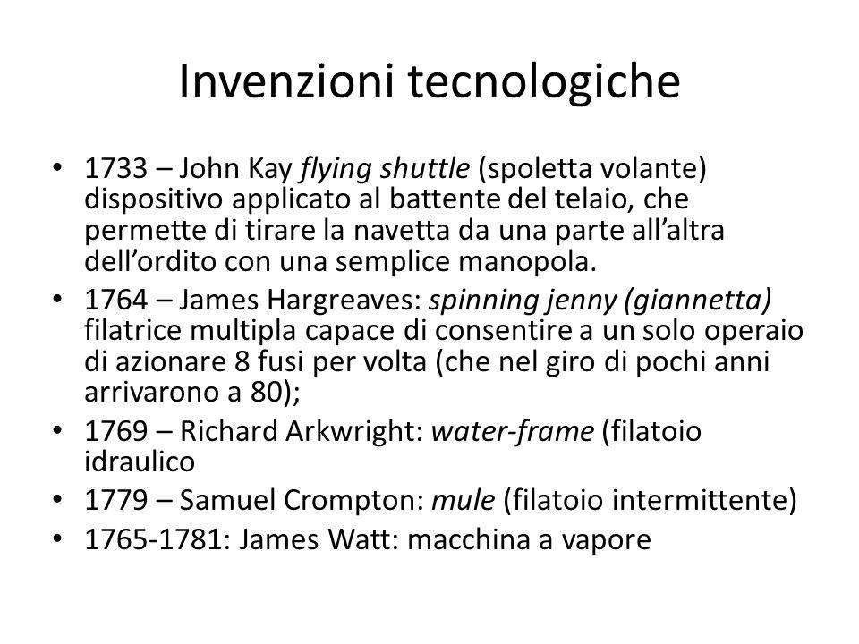 Invenzioni tecnologiche 1733 – John Kay flying shuttle (spoletta volante) dispositivo applicato al battente del telaio, che permette di tirare la navetta da una parte all'altra dell'ordito con una semplice manopola.