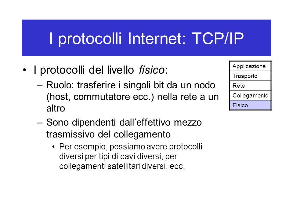 I protocolli Internet: TCP/IP I protocolli del livello fisico: –Ruolo: trasferire i singoli bit da un nodo (host, commutatore ecc.) nella rete a un altro –Sono dipendenti dall'effettivo mezzo trasmissivo del collegamento Per esempio, possiamo avere protocolli diversi per tipi di cavi diversi, per collegamenti satellitari diversi, ecc.