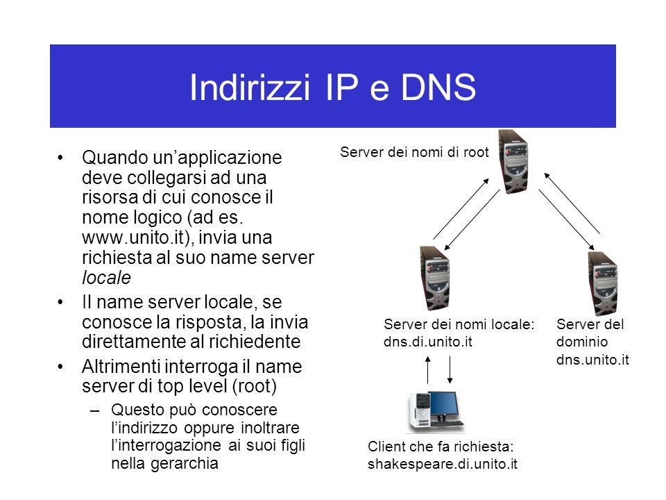 Indirizzi IP e DNS Quando un'applicazione deve collegarsi ad una risorsa di cui conosce il nome logico (ad es.