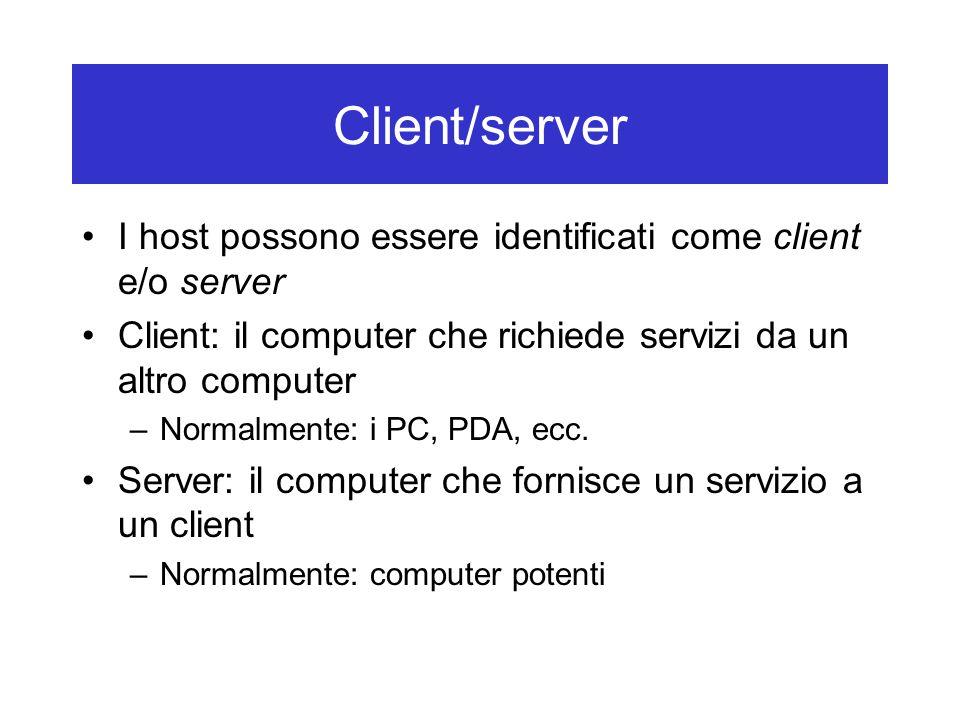 Client/server I host possono essere identificati come client e/o server Client: il computer che richiede servizi da un altro computer –Normalmente: i PC, PDA, ecc.