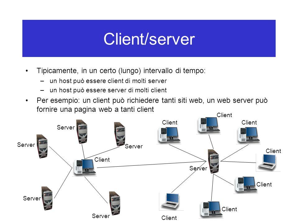 Client/server Tipicamente, in un certo (lungo) intervallo di tempo: –un host può essere client di molti server –un host può essere server di molti cli