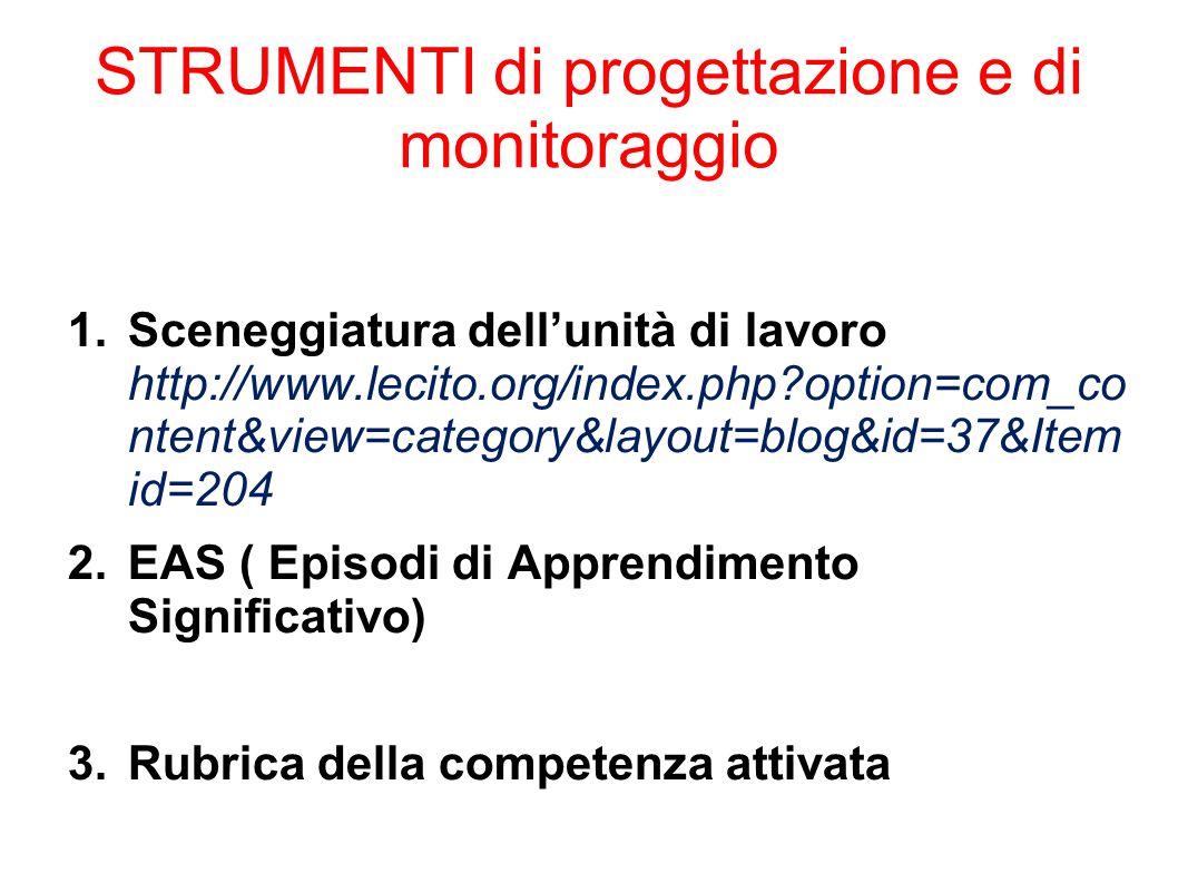STRUMENTI di progettazione e di monitoraggio 1.Sceneggiatura dell'unità di lavoro http://www.lecito.org/index.php?option=com_co ntent&view=category&la