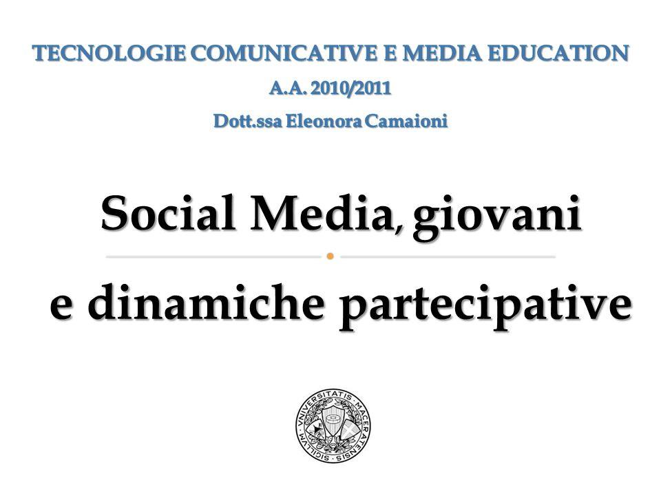 Social MEDIA: definizione Tecnologie e pratiche online che le persone adottano per condividere contenuti testuali, immagini, video e audio.
