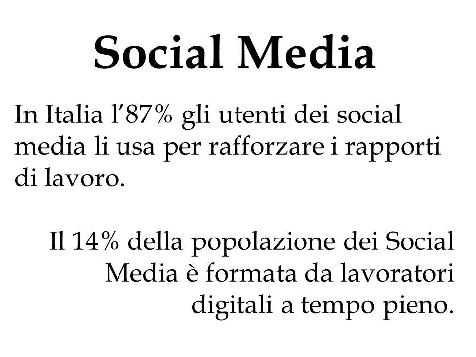 Social Media In Italia l'87% gli utenti dei social media li usa per rafforzare i rapporti di lavoro. Il 14% della popolazione dei Social Media è forma