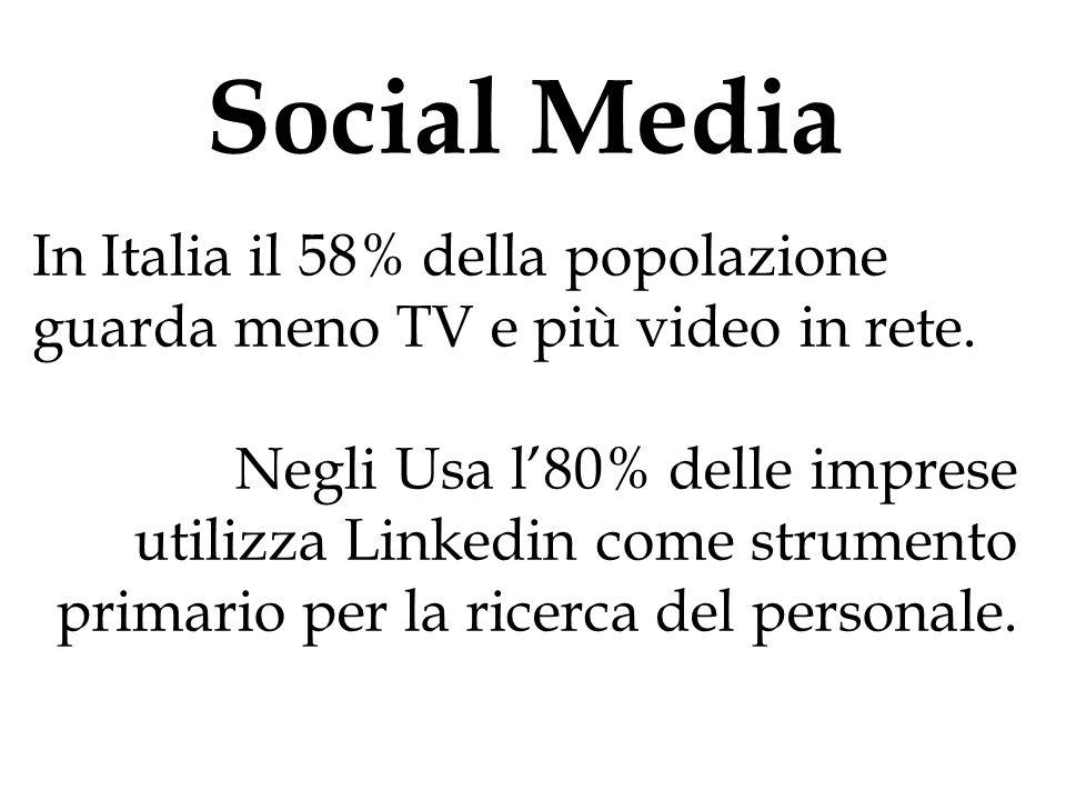 Social Media In Italia il 58% della popolazione guarda meno TV e più video in rete. Negli Usa l'80% delle imprese utilizza Linkedin come strumento pri