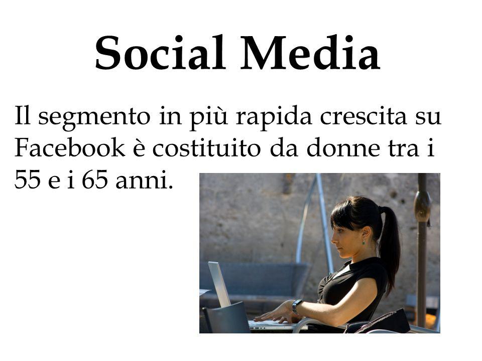 Social Media Il segmento in più rapida crescita su Facebook è costituito da donne tra i 55 e i 65 anni.