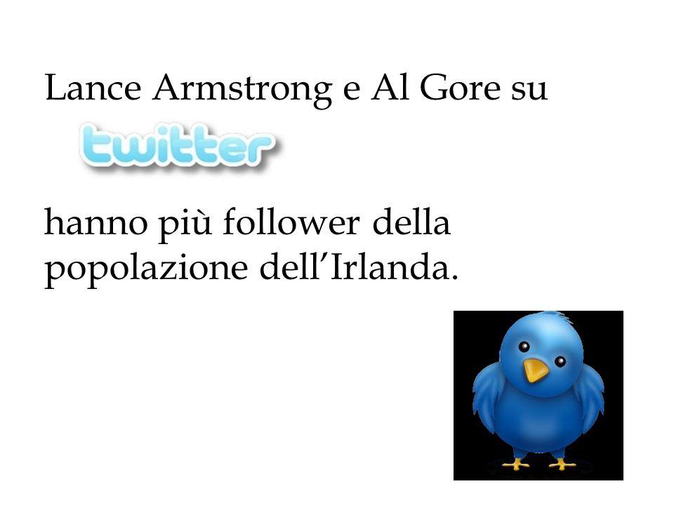 Lance Armstrong e Al Gore su hanno più follower della popolazione dell'Irlanda.