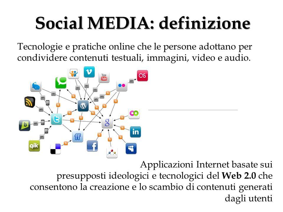 Social MEDIA: definizione Tecnologie e pratiche online che le persone adottano per condividere contenuti testuali, immagini, video e audio. Applicazio