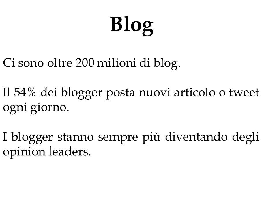 Blog Ci sono oltre 200 milioni di blog. Il 54% dei blogger posta nuovi articolo o tweet ogni giorno. I blogger stanno sempre più diventando degli opin