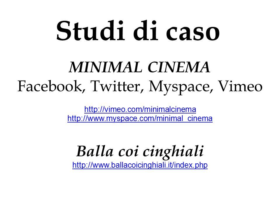 Studi di caso MINIMAL CINEMA Facebook, Twitter, Myspace, Vimeo http://vimeo.com/minimalcinema http://www.myspace.com/minimal_cinema Balla coi cinghial