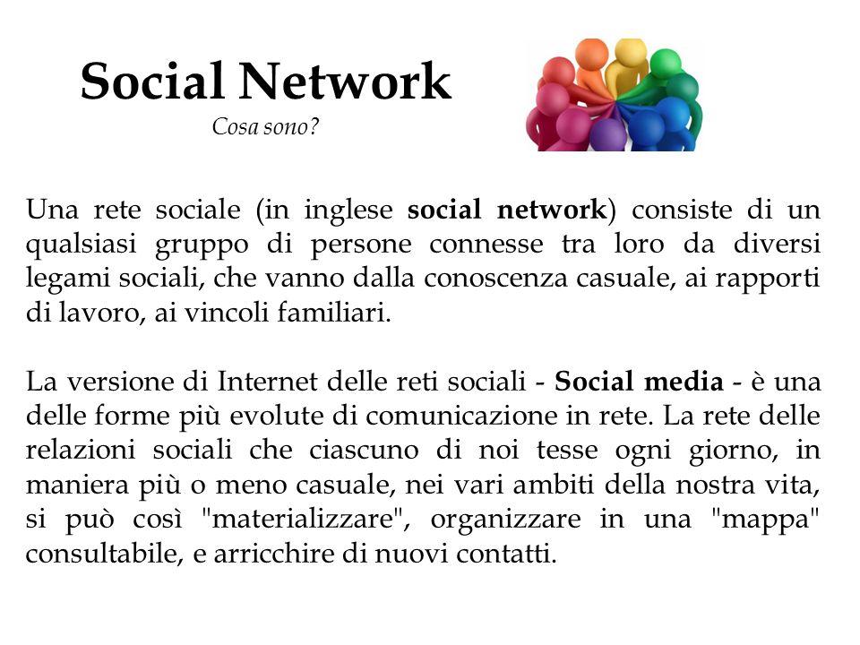 Social Network Cosa sono? Una rete sociale (in inglese social network ) consiste di un qualsiasi gruppo di persone connesse tra loro da diversi legami