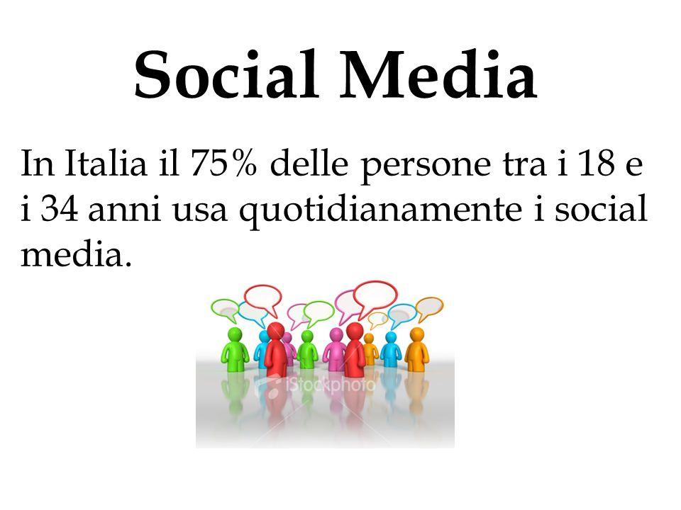 Social Media In Italia il 75% delle persone tra i 18 e i 34 anni usa quotidianamente i social media.