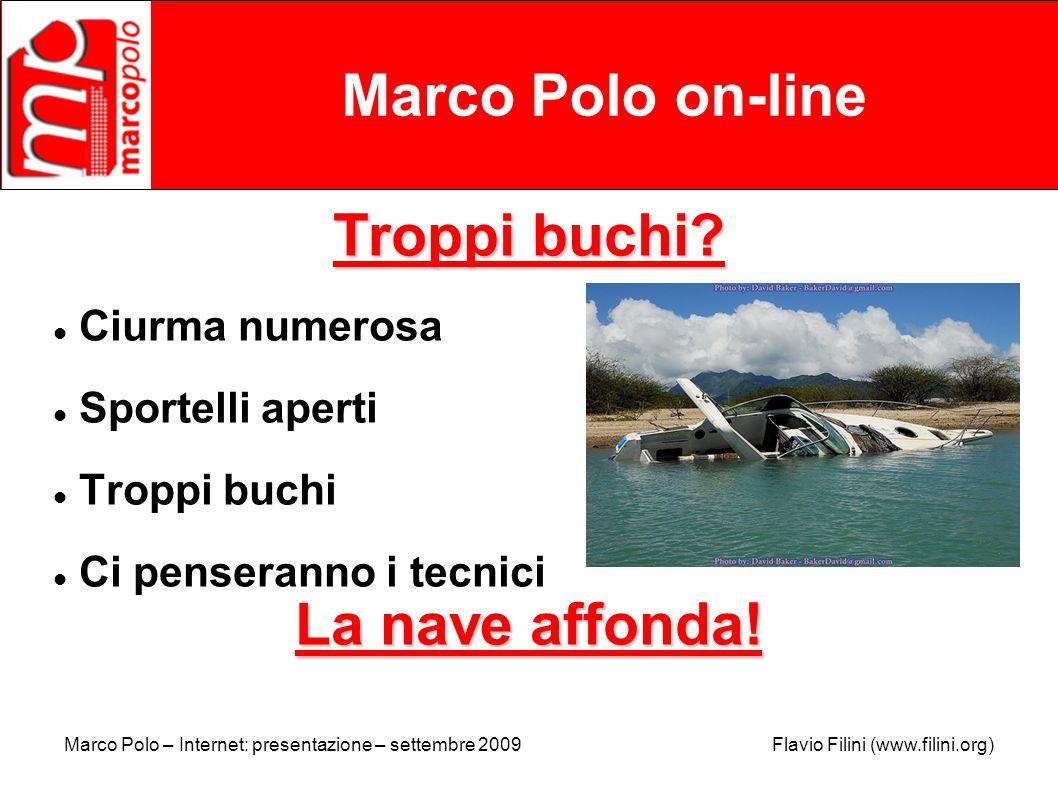 Marco Polo – Internet: presentazione – settembre 2009 Flavio Filini (www.filini.org) Marco Polo on-line Troppi buchi.