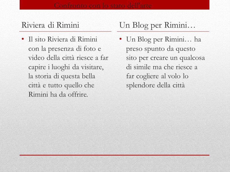 Confronto con lo stato dell arte Riviera di Rimini Lo stile del sito è molto semplice e l'utente è in grado di muoversi all'interno del sito con facilità Un Blog per Rimini Anche nel blog c'è una grafica semplice con i toni del rosso e grigio ed è molto semplice nell'utilizzo
