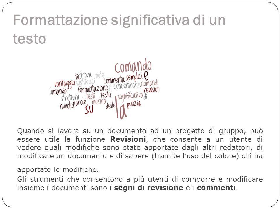 Formattazione significativa di un testo Quando si lavora su un documento ad un progetto di gruppo, può essere utile la funzione Revisioni, che consent