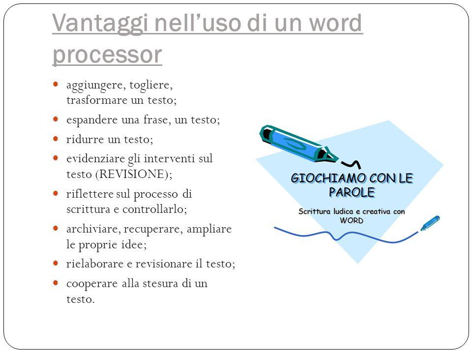 Vantaggi nell'uso di un word processor aggiungere, togliere, trasformare un testo; espandere una frase, un testo; ridurre un testo; evidenziare gli in