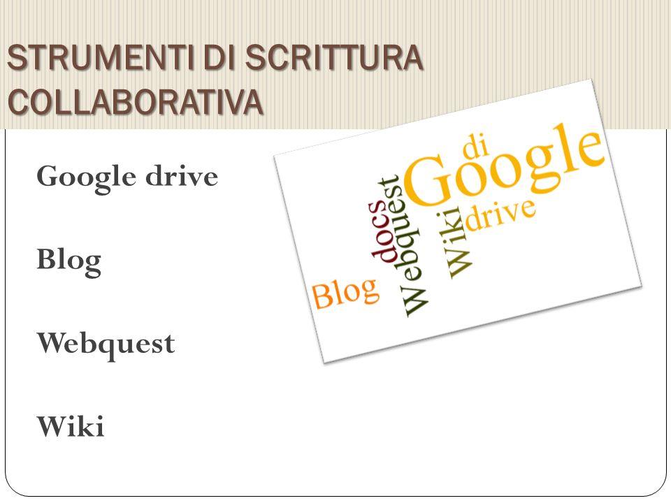 STRUMENTI DI SCRITTURA COLLABORATIVA Google drive Blog Webquest Wiki