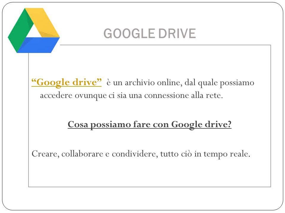 """GOOGLE DRIVE """"Google drive""""""""Google drive"""" è un archivio online, dal quale possiamo accedere ovunque ci sia una connessione alla rete. Cosa possiamo fa"""