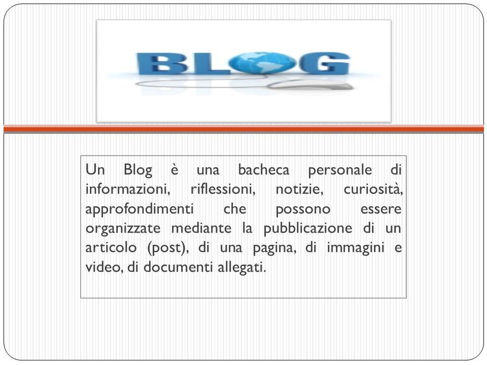 Un Blog è una bacheca personale di informazioni, riflessioni, notizie, curiosità, approfondimenti che possono essere organizzate mediante la pubblicaz