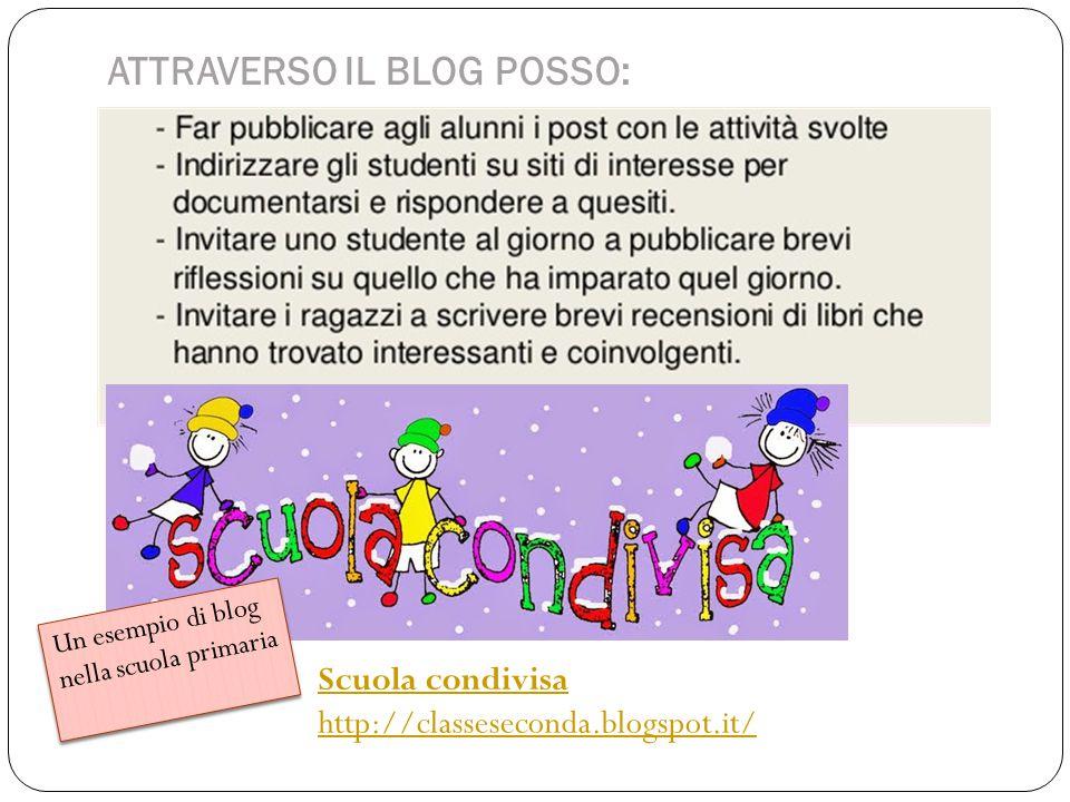 ATTRAVERSO IL BLOG POSSO: Scuola condivisa http://classeseconda.blogspot.it/ Un esempio di blog nella scuola primaria