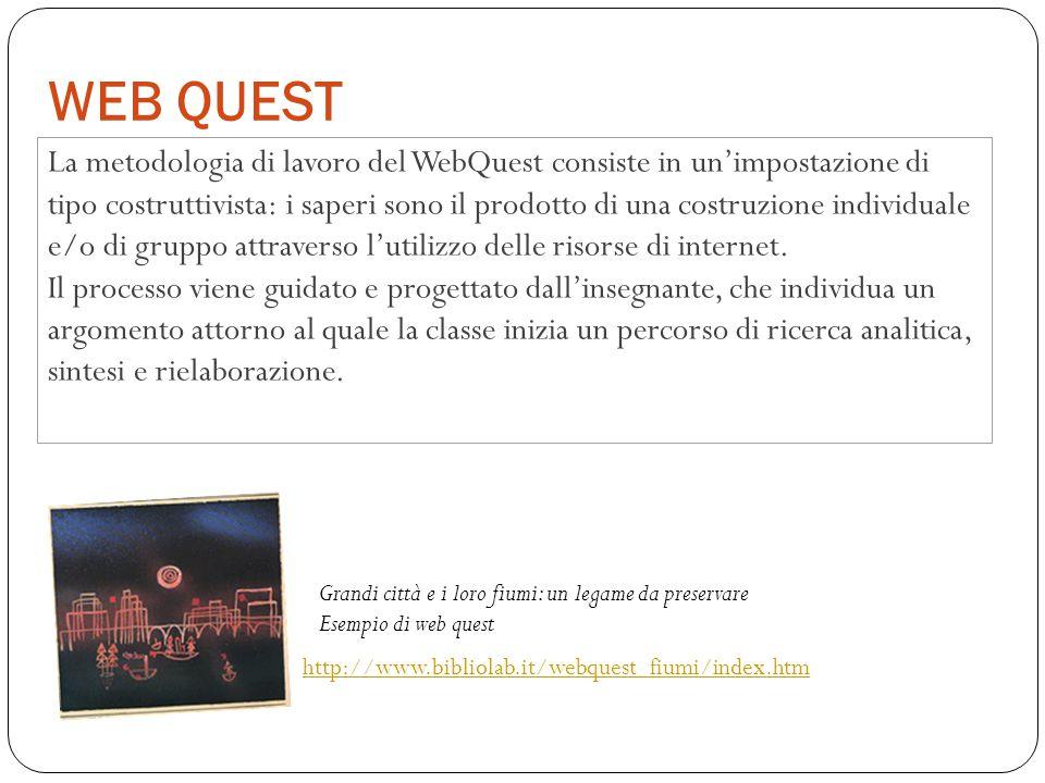 WEB QUEST La metodologia di lavoro del WebQuest consiste in un'impostazione di tipo costruttivista: i saperi sono il prodotto di una costruzione indiv