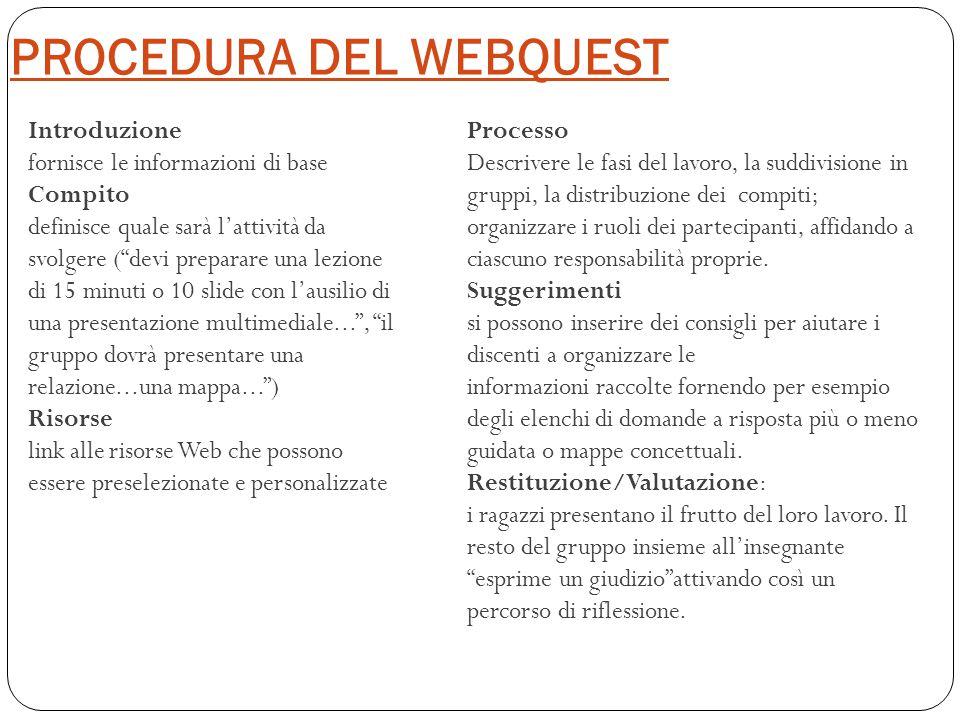 """PROCEDURA DEL WEBQUEST Introduzione fornisce le informazioni di base Compito definisce quale sarà l'attività da svolgere (""""devi preparare una lezione"""