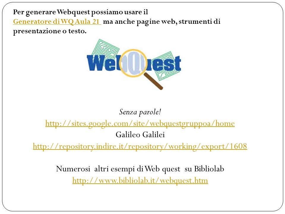 Senza parole! http://sites.google.com/site/webquestgruppoa/home http://sites.google.com/site/webquestgruppoa/home Galileo Galilei http://repository.in
