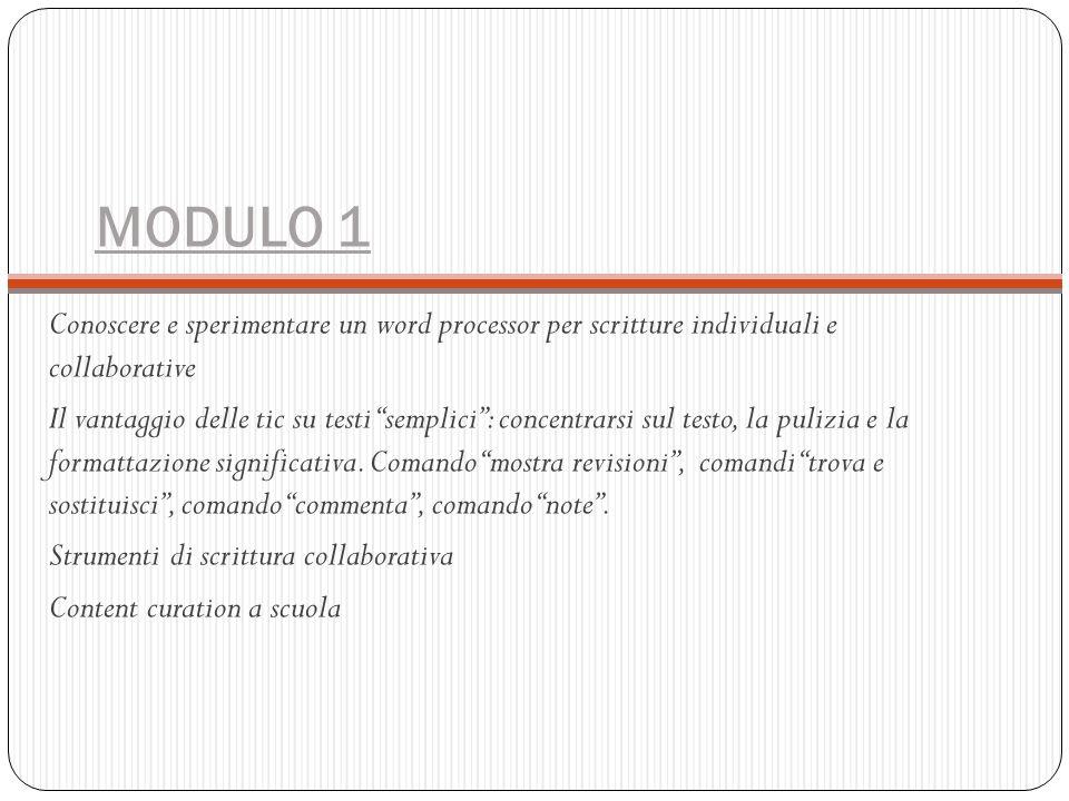 """MODULO 1 Conoscere e sperimentare un word processor per scritture individuali e collaborative Il vantaggio delle tic su testi """"semplici"""": concentrarsi"""