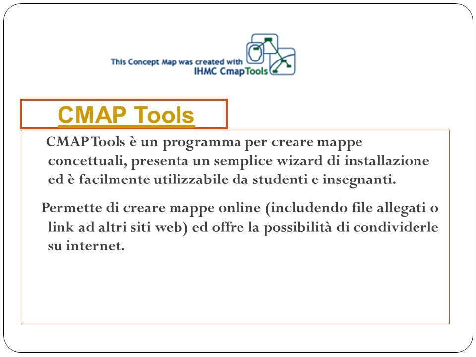 CMAP Tools è un programma per creare mappe concettuali, presenta un semplice wizard di installazione ed è facilmente utilizzabile da studenti e insegn
