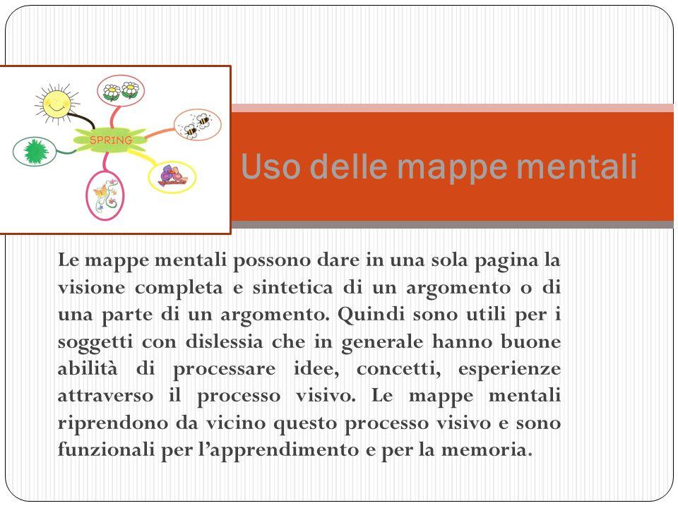 Le mappe mentali possono dare in una sola pagina la visione completa e sintetica di un argomento o di una parte di un argomento. Quindi sono utili per