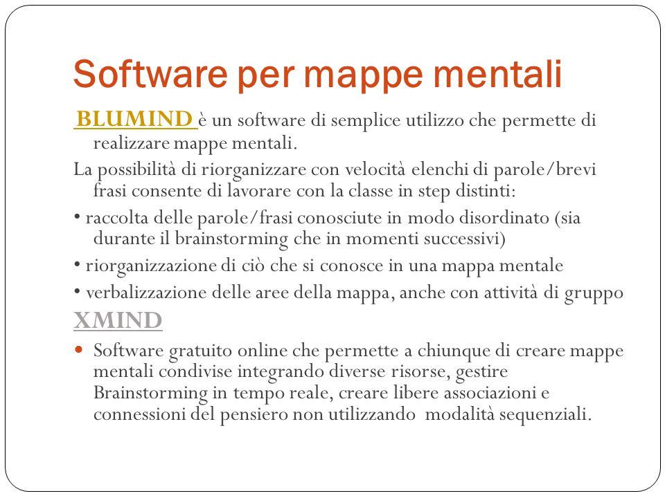 Software per mappe mentali BLUMIND BLUMIND è un software di semplice utilizzo che permette di realizzare mappe mentali. La possibilità di riorganizzar