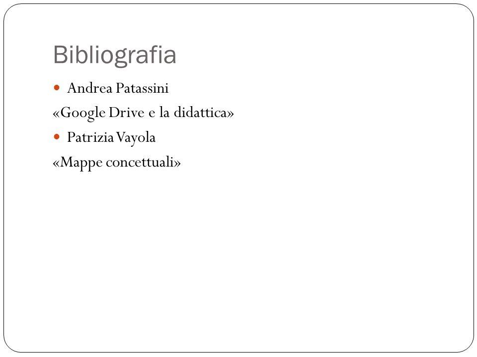 Bibliografia Andrea Patassini «Google Drive e la didattica» Patrizia Vayola «Mappe concettuali»