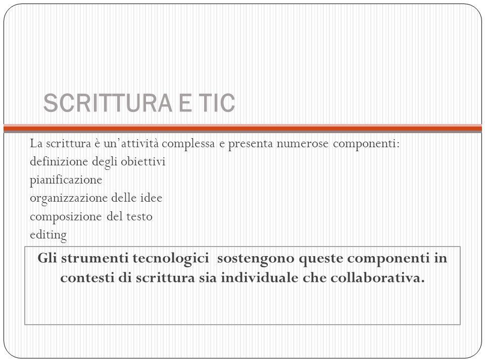 SCRITTURA E TIC La scrittura è un'attività complessa e presenta numerose componenti: definizione degli obiettivi pianificazione organizzazione delle i