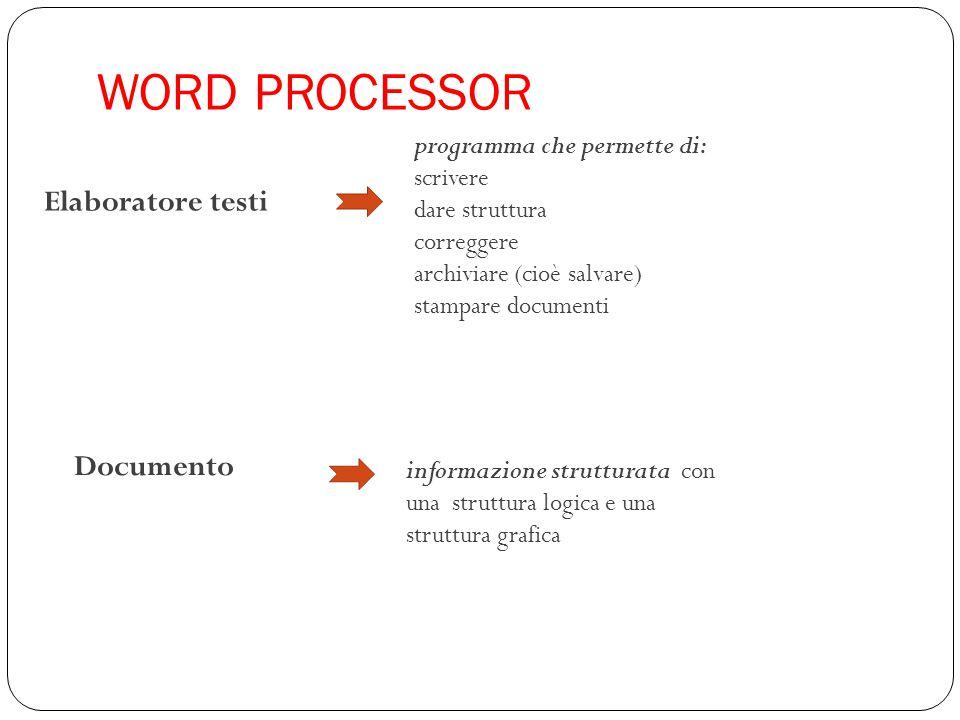 WORD PROCESSOR informazione strutturata con una struttura logica e una struttura grafica programma che permette di: scrivere dare struttura correggere