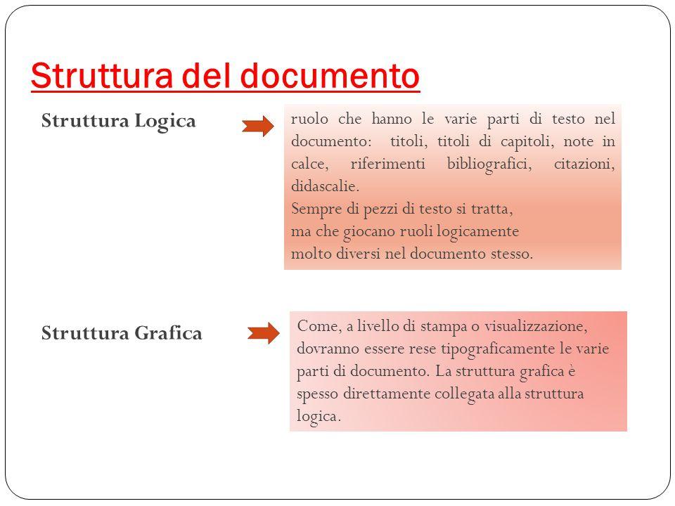 Struttura del documento Struttura Logica ruolo che hanno le varie parti di testo nel documento: titoli, titoli di capitoli, note in calce, riferimenti