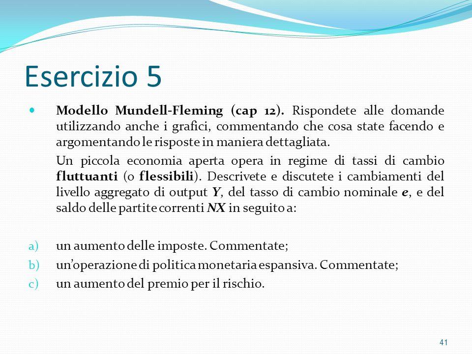 Esercizio 5 Modello Mundell-Fleming (cap 12).