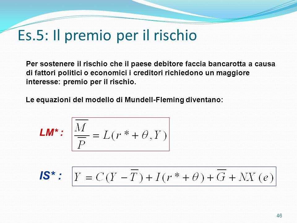 Es.5: Il premio per il rischio 46 LM* : IS* : Per sostenere il rischio che il paese debitore faccia bancarotta a causa di fattori politici o economici i creditori richiedono un maggiore interesse: premio per il rischio.