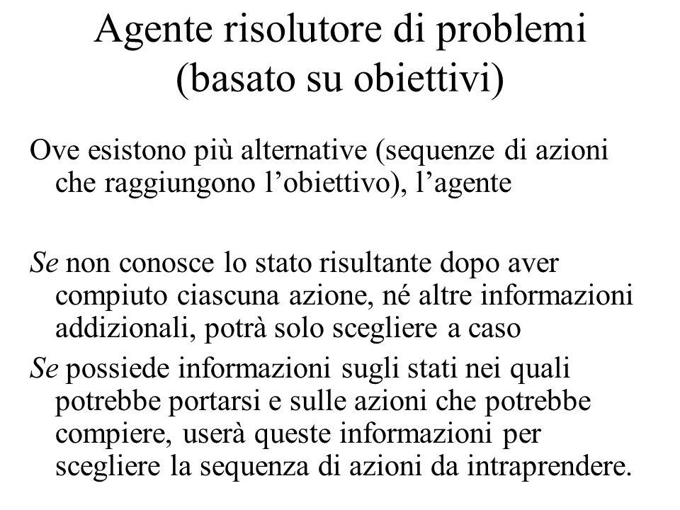 Agente risolutore di problemi (basato su obiettivi) Ove esistono più alternative (sequenze di azioni che raggiungono l'obiettivo), l'agente Se non con