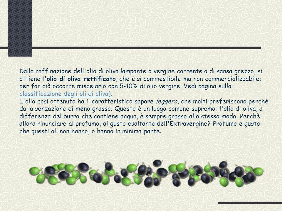 Dalla raffinazione dell olio di oliva lampante o vergine corrente o di sansa grezzo, si ottiene l olio di oliva rettificato, che è si commestibile ma non commercializzabile; per far ciò occorre miscelarlo con 5-10% di olio vergine.