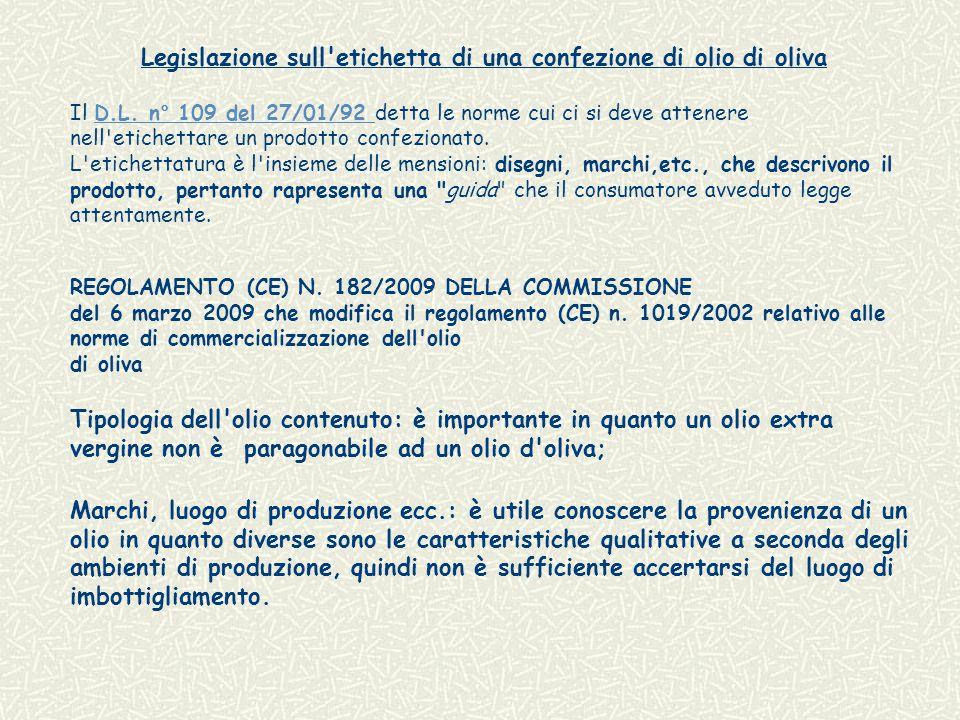 Legislazione sull etichetta di una confezione di olio di oliva Il D.L.