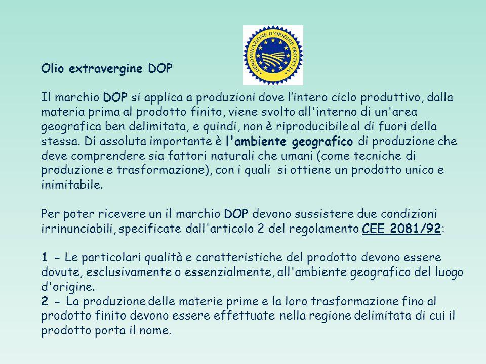 Olio extravergine DOP Il marchio DOP si applica a produzioni dove l'intero ciclo produttivo, dalla materia prima al prodotto finito, viene svolto all interno di un area geografica ben delimitata, e quindi, non è riproducibile al di fuori della stessa.