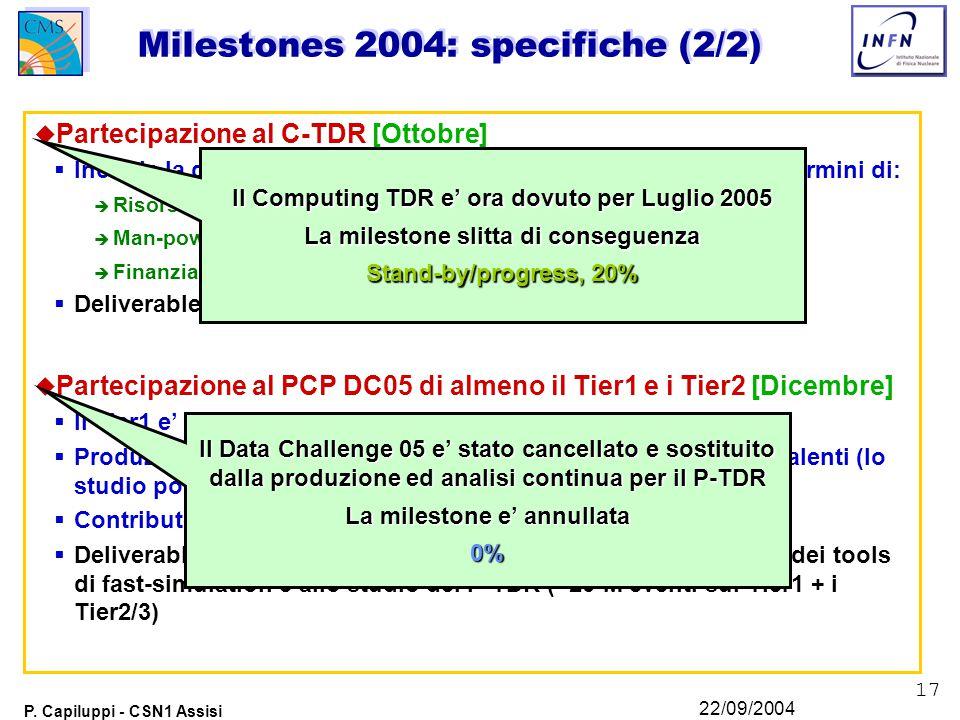17 P. Capiluppi - CSN1 Assisi 22/09/2004 Milestones 2004: specifiche (2/2) u Partecipazione al C-TDR [Ottobre]  Include la definizione della partecip