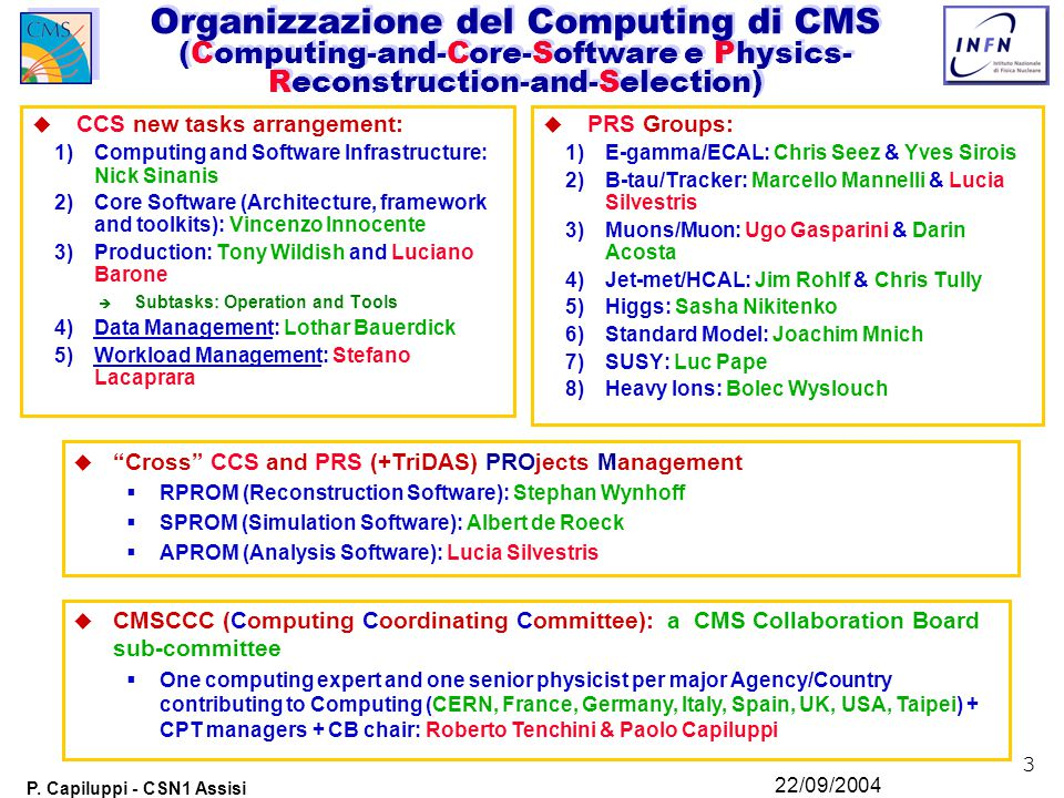 3 P. Capiluppi - CSN1 Assisi 22/09/2004 Organizzazione del Computing di CMS (Computing-and-Core-Software e Physics- Reconstruction-and-Selection) u CC