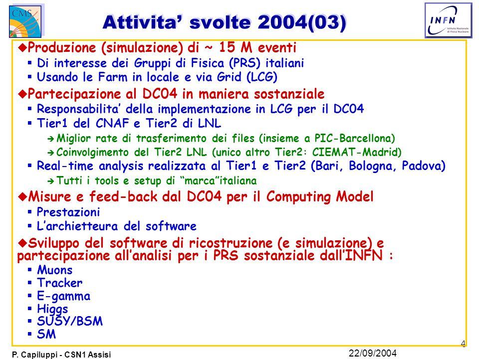 4 P. Capiluppi - CSN1 Assisi 22/09/2004 Attivita' svolte 2004(03) u Produzione (simulazione) di ~ 15 M eventi  Di interesse dei Gruppi di Fisica (PRS