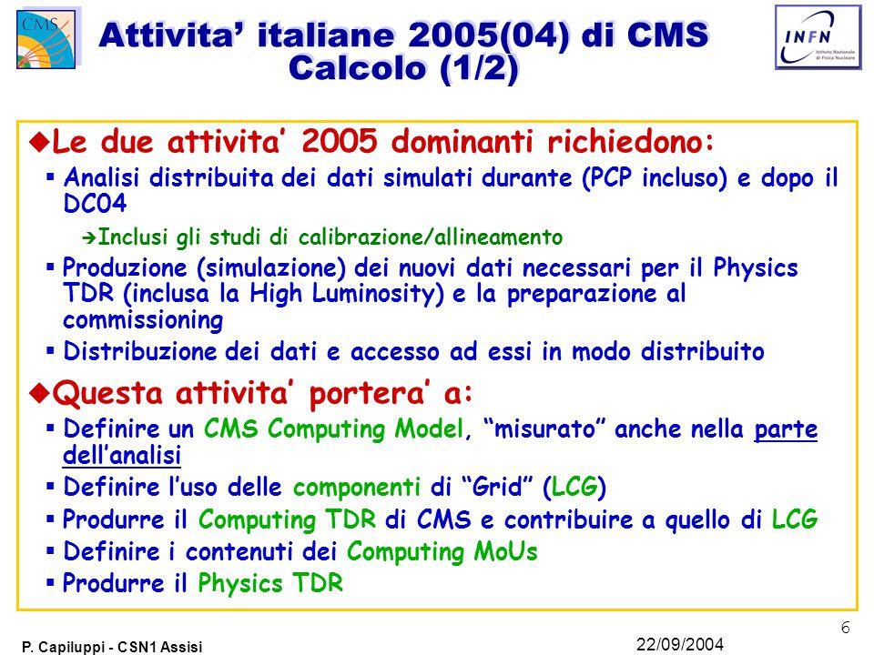 6 P. Capiluppi - CSN1 Assisi 22/09/2004 Attivita' italiane 2005(04) di CMS Calcolo (1/2) u Le due attivita' 2005 dominanti richiedono:  Analisi distr